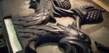 Фрагменты герба Российской Федерации (рельеф) для дипломатического представительств в  Минске (Белорусь) и Кейптауне (ЮАР). Размеры 1500 мм и 1100 мм. Модели в пластилине  для литья в бронзе по выплавляемым моделям