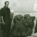 Рельеф в детский сад. г. Краснокаменск. 1980  Глина с последующим переведением (гипс-бетон) в кованый алюминий.